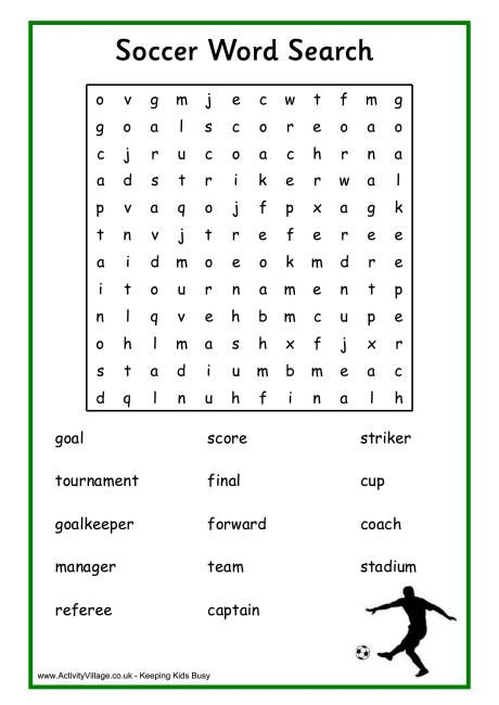soccer word search my compassion sports pinterest word search activities and worksheets. Black Bedroom Furniture Sets. Home Design Ideas