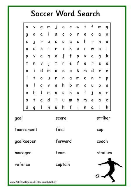 Soccer Word Search Worksheets For Kids Soccer Soccer Games