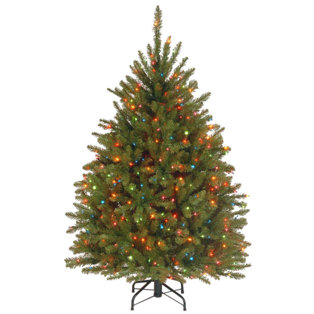 National Tree Company 4 5 Ft Dunhill Fir Artificial Christmas Tree With Multicolor Lights Duh 45rlo Slim Artificial Christmas Trees Pre Lit Christmas Tree Fir Christmas Tree