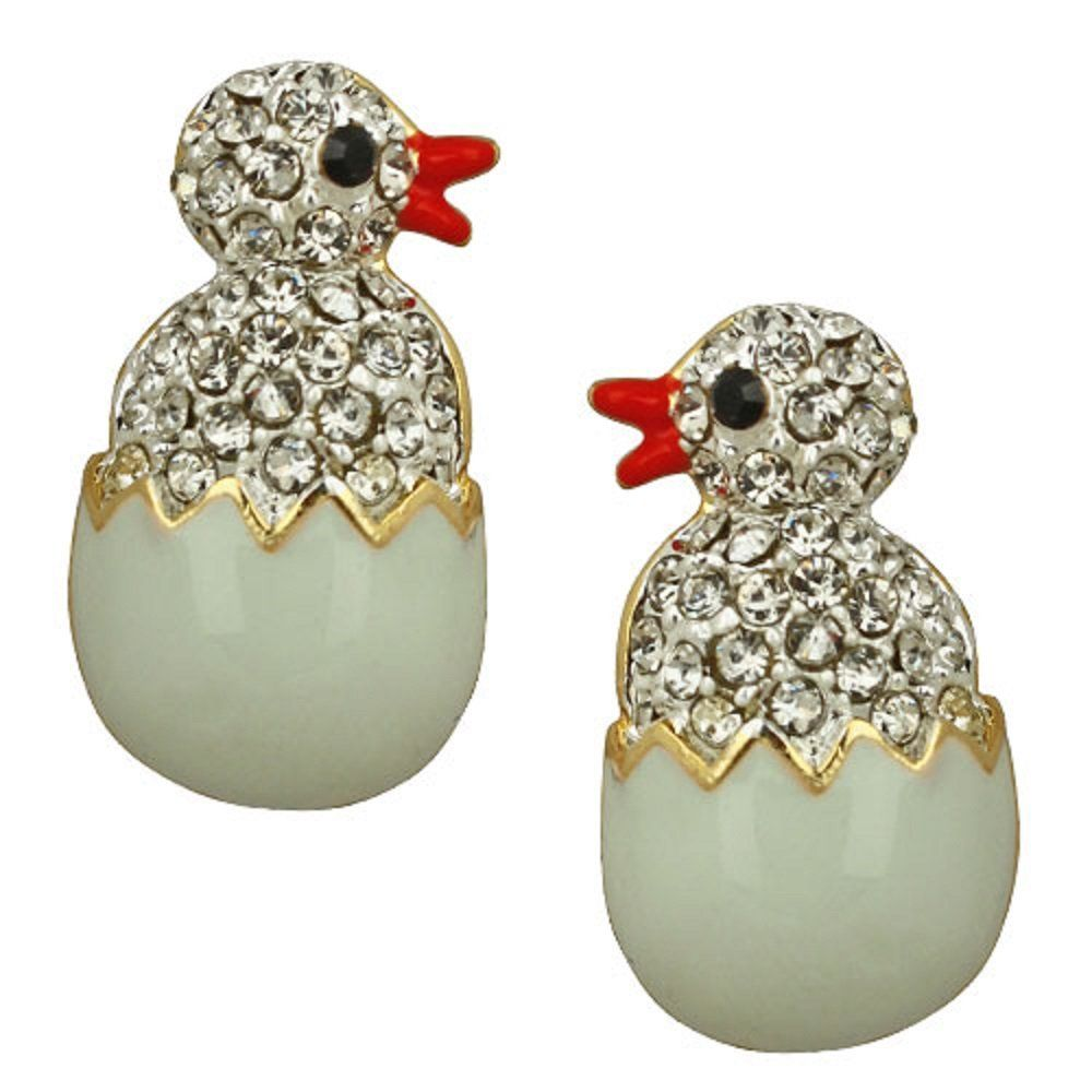 Kirks Folly Just Hatched Chick Pierced Earrings Goldtone