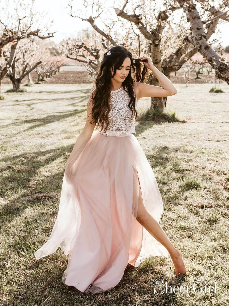 611acf9a47d0e Cheap two piece boho wedding dress with lace top and pink tulle skirt.  1.Silhouette:A Line 2.Fabric:Lace&Tulle&Satin 3.Embellishment:none 4.