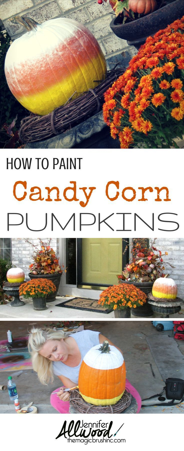 Ideas : How to paint candy corn pumpkins for fall decoration. They aren't as easy as you think! Here's some tips and tricks from theMagicBrushinc.com #diy #howto #diyhomedecor #fall #falldecor #pumpkin #pumpkinseverywhere