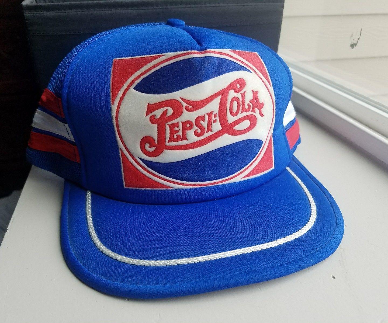 Vintage Pepsi Cola Trucker Hat Snapback Big Logo 80  Nos Starter Logo  Athletic 805144e58613