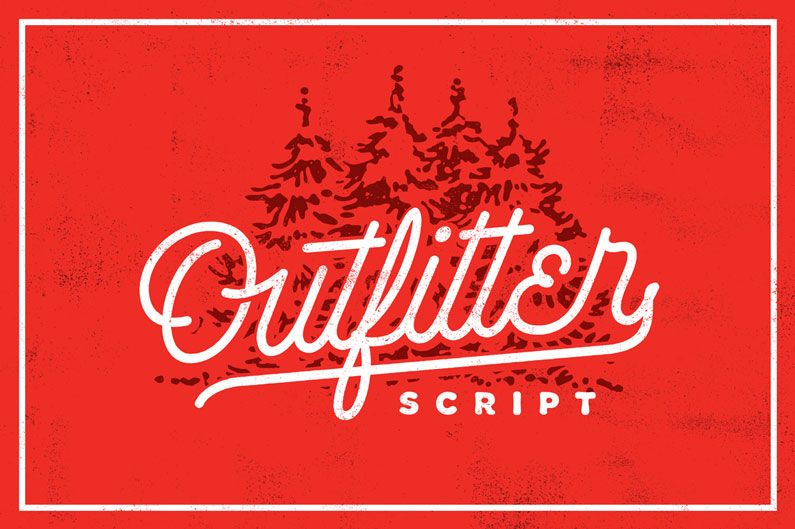Outfitter script font retro style vintage esque and