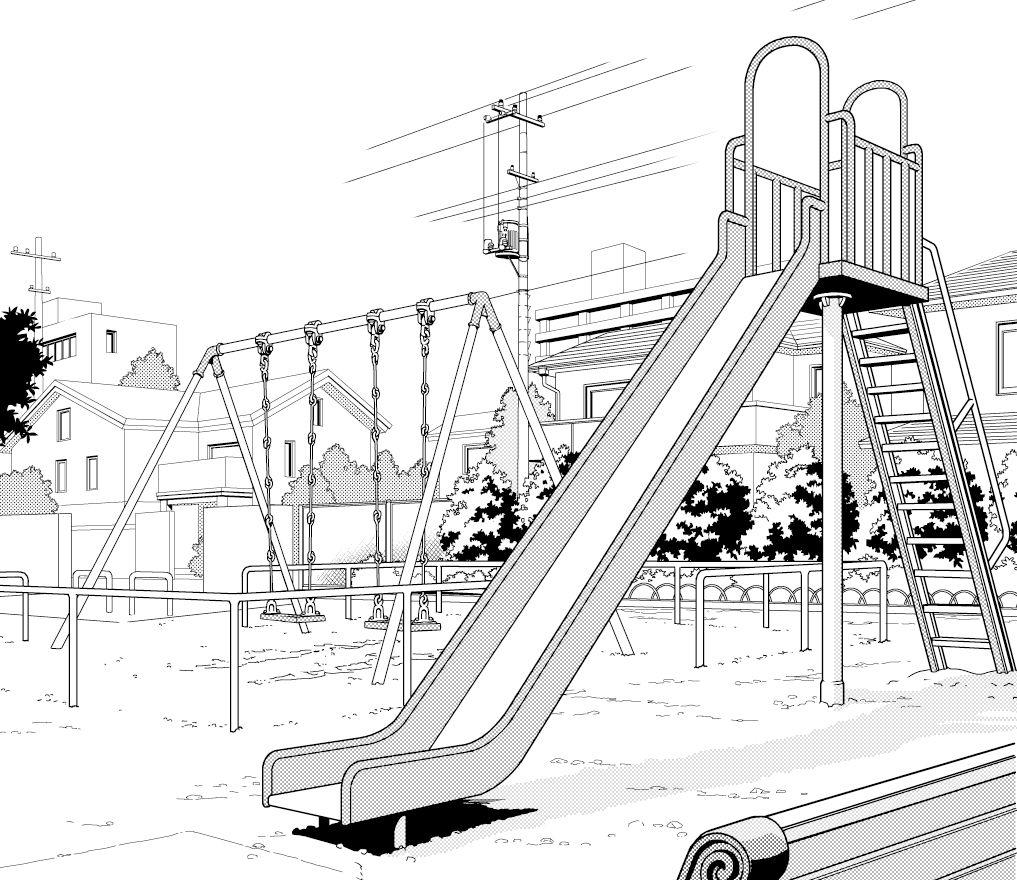 超級 背景講座 Maedaxの背景萌え 公園編 イラスト マンガ描き方ナビ 公園 イラスト 公園 イラスト