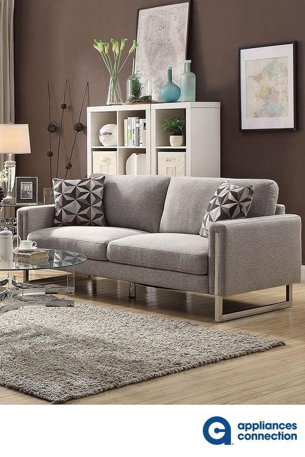 Stellan Collection  Chair with Flat Weave Fabric Upholstery, Sleek Track Arms and U-Shaped Stainless Steel Legs in Grey  #coasterfurniture #coastersofa #sofa #sofadesign #homefurniture #homedesign #homeideas #homedecor #homestyle #furnituredecor #walldecor