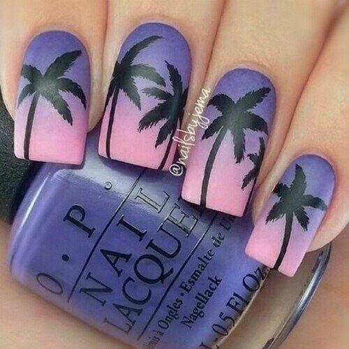 Hot Pink faded Orange palm tree nails | Nails | Pinterest | Palm ...