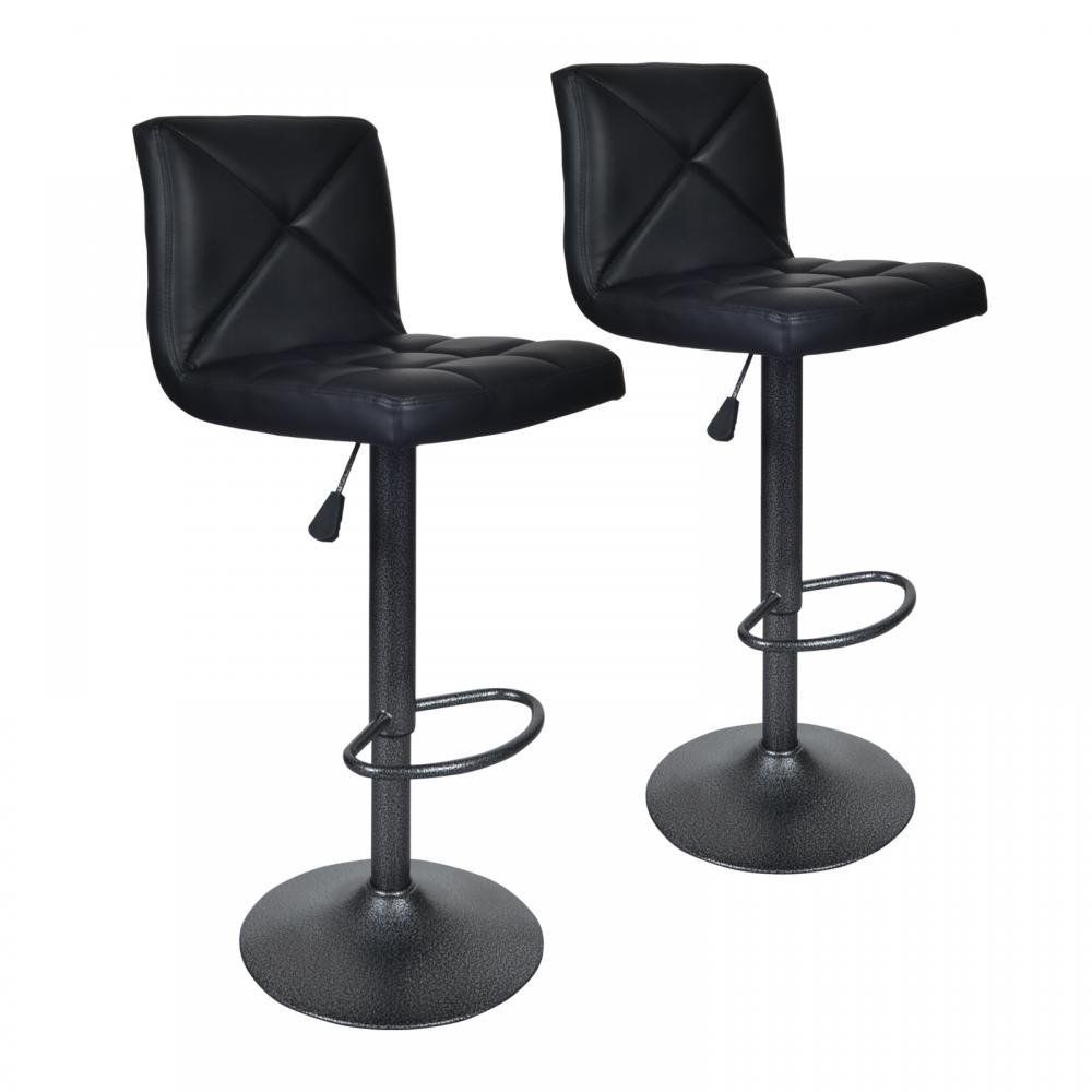 Black 2 PU Leather Modern Adjustable Swivel Barstools ...