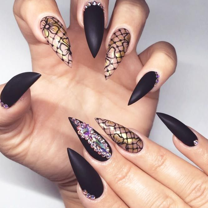 25 Fearless Combinations With Black Stiletto Nails Health Beauty