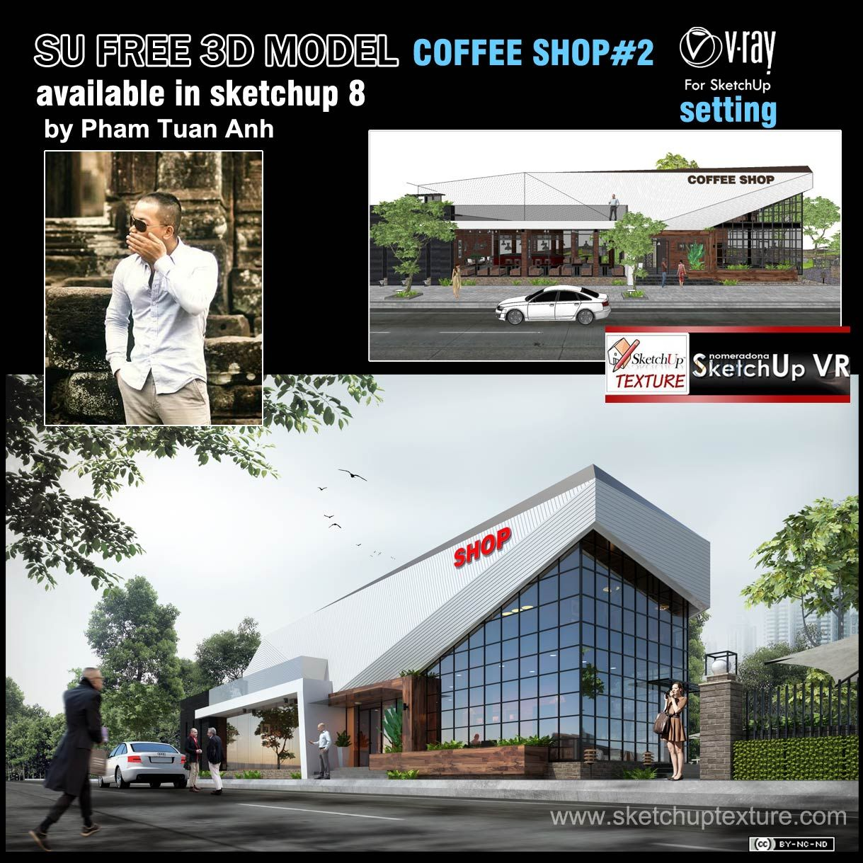 FREE SKETCHUP 3D MODEL COFFEE SHOP shared by Pham Tuan Anh https://www.facebook.com/ktsphamtuananh from Vietnam, vray setting, fully 3d furnished, Read more http://www.sketchuptexture.com/2014/05/free-sketchup-model-coffe-shop-2-vray-setting.html