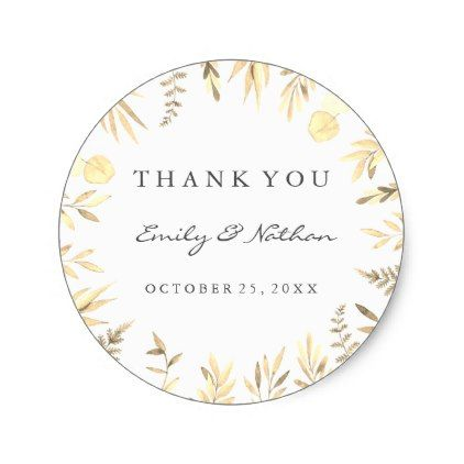 wedding golden leaf thank you sticker golden leaves wedding