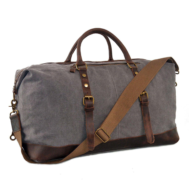 0dd8b7fdd7a0 Ulgoo Travel Duffel Bag Canvas Bag PU Leather Weekend Bag Overnight Review