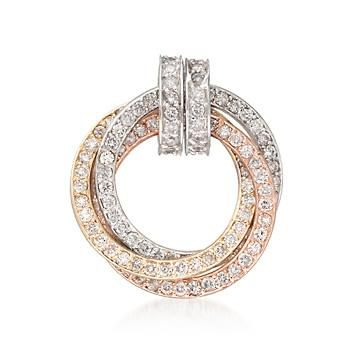 Ross-Simons - 1.10 ct. t.w. Diamond Eternity Circle Pendant in 14kt Tri-Colored Gold - #836343