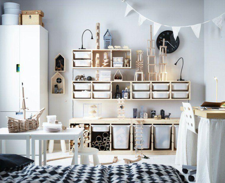 Idees En Images Pour Meuble De Rangement De Chambre D Enfant En Bois Et Mobilier Ikea Bedroom Organisation Kids Room Playroom Storage