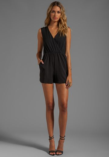 ALICE + OLIVIA Marlo Cross Over Shirred Back Romper in Black - Rompers & Jumpsuits