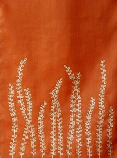 Burnt Orange Table Runner Embroidered With Cream Foliage    Etsy