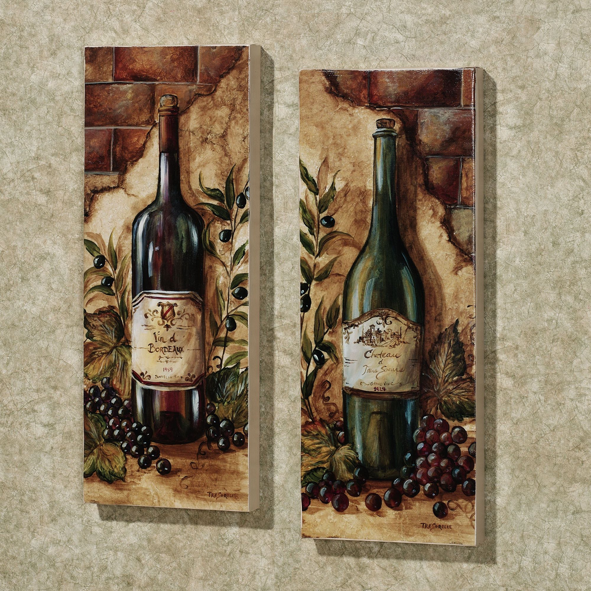 Wine cellar piece canvas art set set of two decoupage mod podge