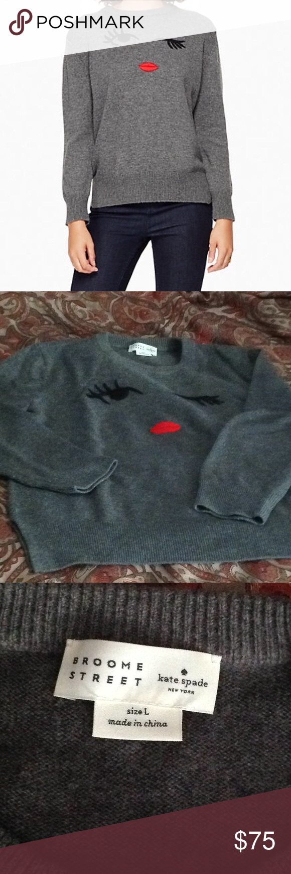 Kate Spade winking sweater 53% polyamide and 47% wool Broome Street sweater, so soft and comfortable.  Just doesn't fit anymore. kate spade Sweaters Crew & Scoop Necks