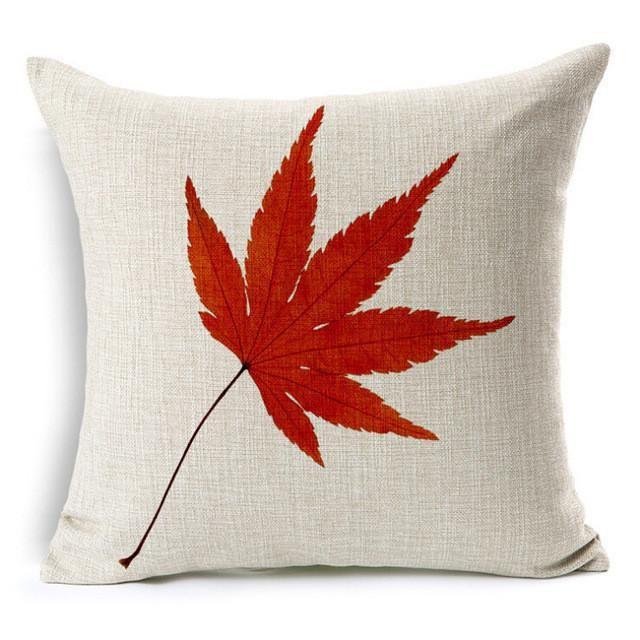 Maple Leaf Life Tree Cotton Linen Colorful Decorative Pillow Case.
