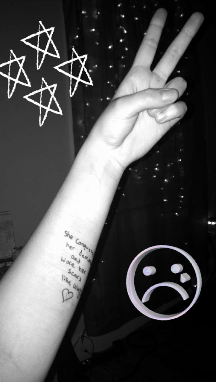 Overcoming depression embracing scars quote tumblr sad face aesthetic black and white arm photo