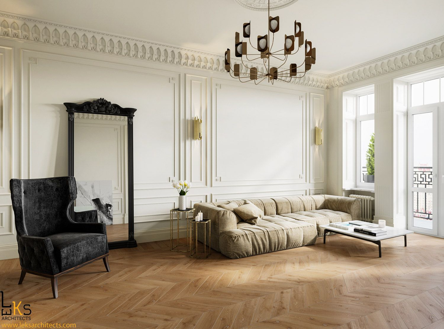 Beautiful classic apartments by Leks Architects in Kiev. Light ...