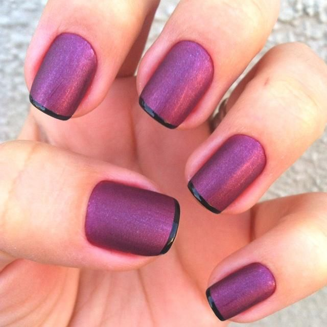 Plum matte nail design with black on the tips.   Nails   Pinterest ...