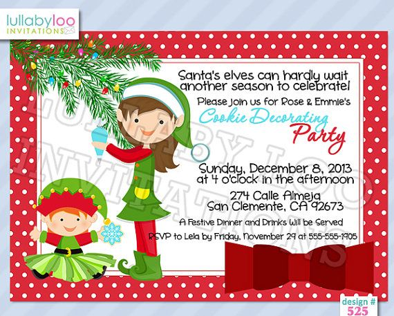 Cookie Decorating Party Invitations 525 by LullabyLoo on Etsy – Cookie Decorating Party Invitations