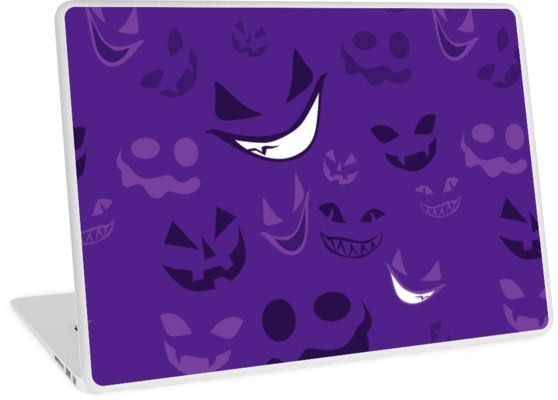 Spooky Faces Laptop Skin #halloween #ghosts #smile #spooky #purple