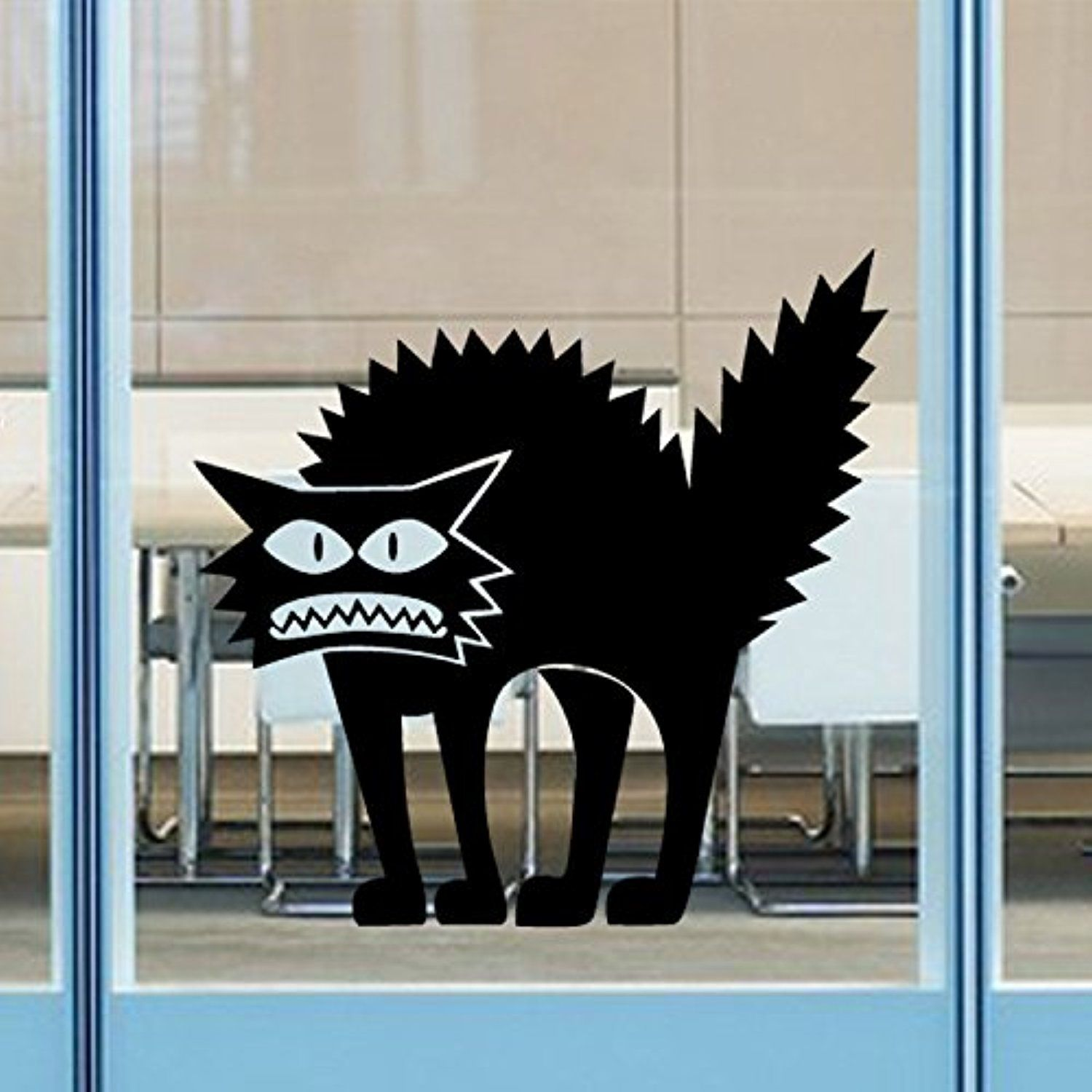ZXWFOBEY Happy Halloween Wild Cats Wall Decals Window Stickers - Window Halloween Decorations