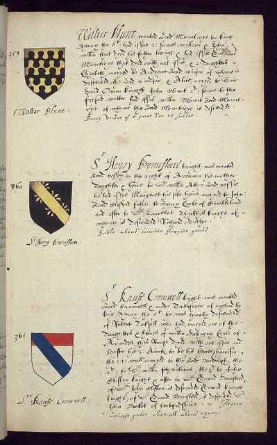 Book of English heraldry, Arms of Walter Blunt, Sr Henry Bromfleete