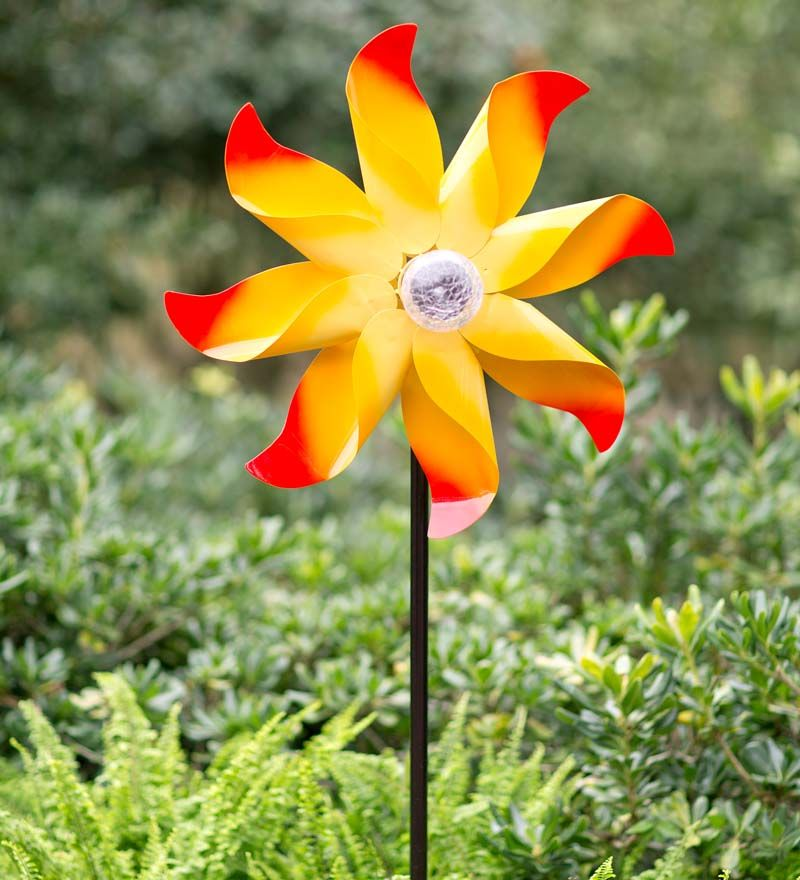Yellow Flower Wind Spinner With Solar Globe