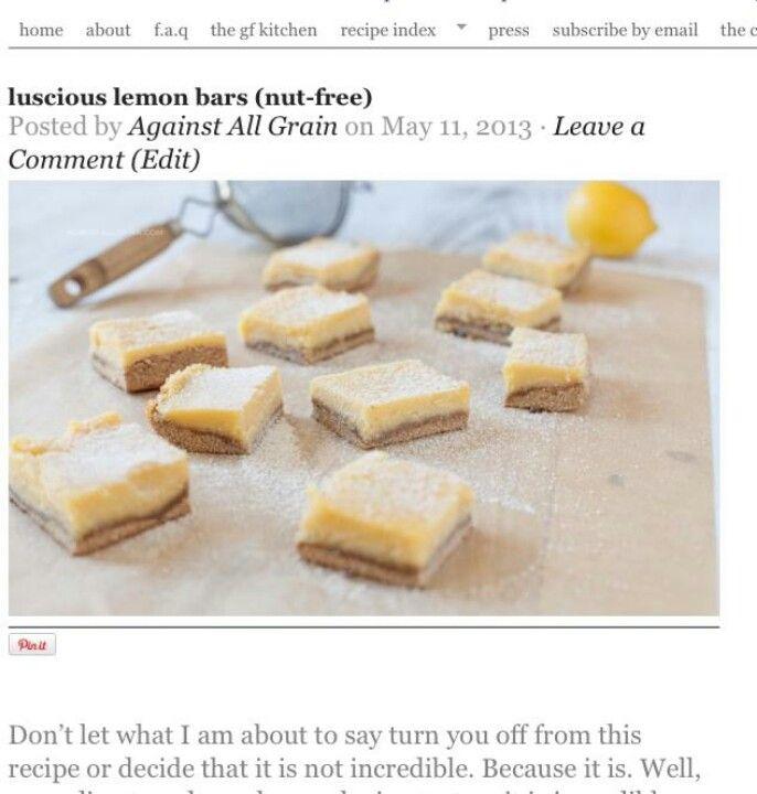 Grain free lemon bars
