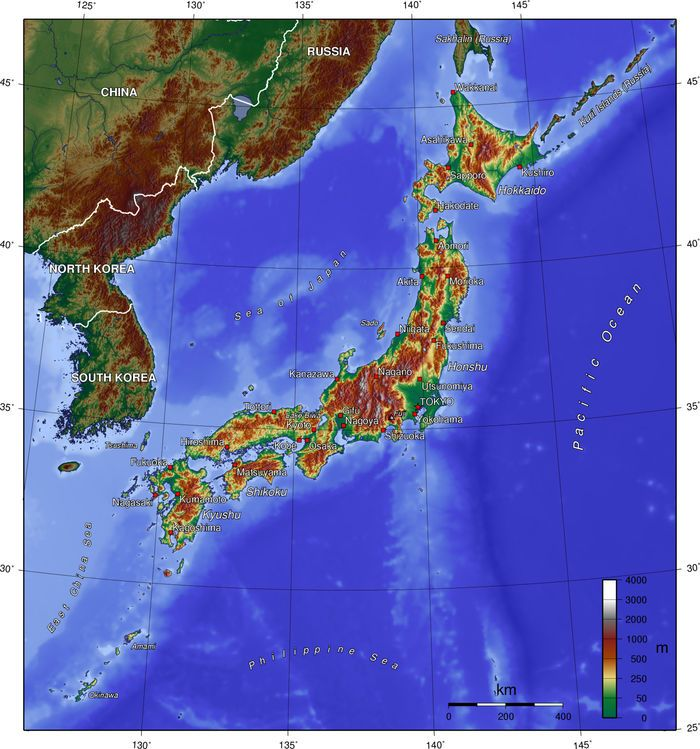 Map of Japan (Topographic Map) : Worldofmaps.  online Maps and