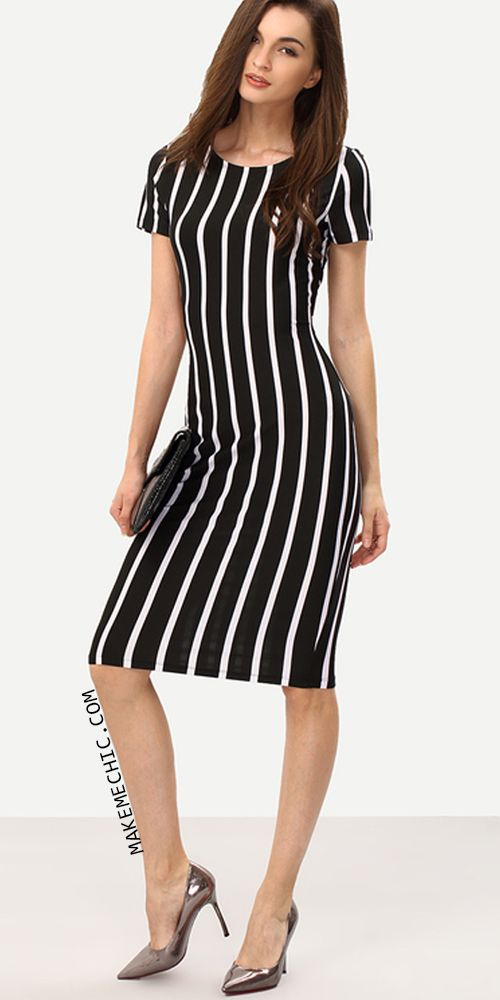 19b30f4b77b Vertical Striped Long Sheath Dress