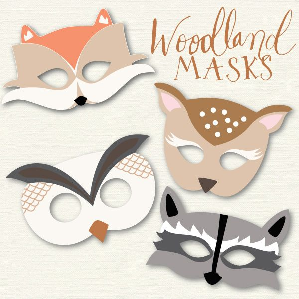 Woodland masks 3 mateo 39 s one year birthday party for Woodland animal masks template