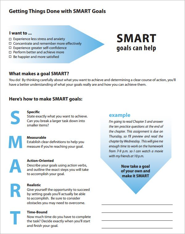 Smart Goals Definition Template  Goal Setting    Goals