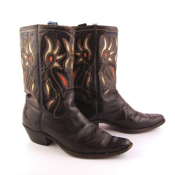 a9c35454745 Inlay Cowboy Boots Vintage 1950s Acme Black 50s Leather Men's 9 ...