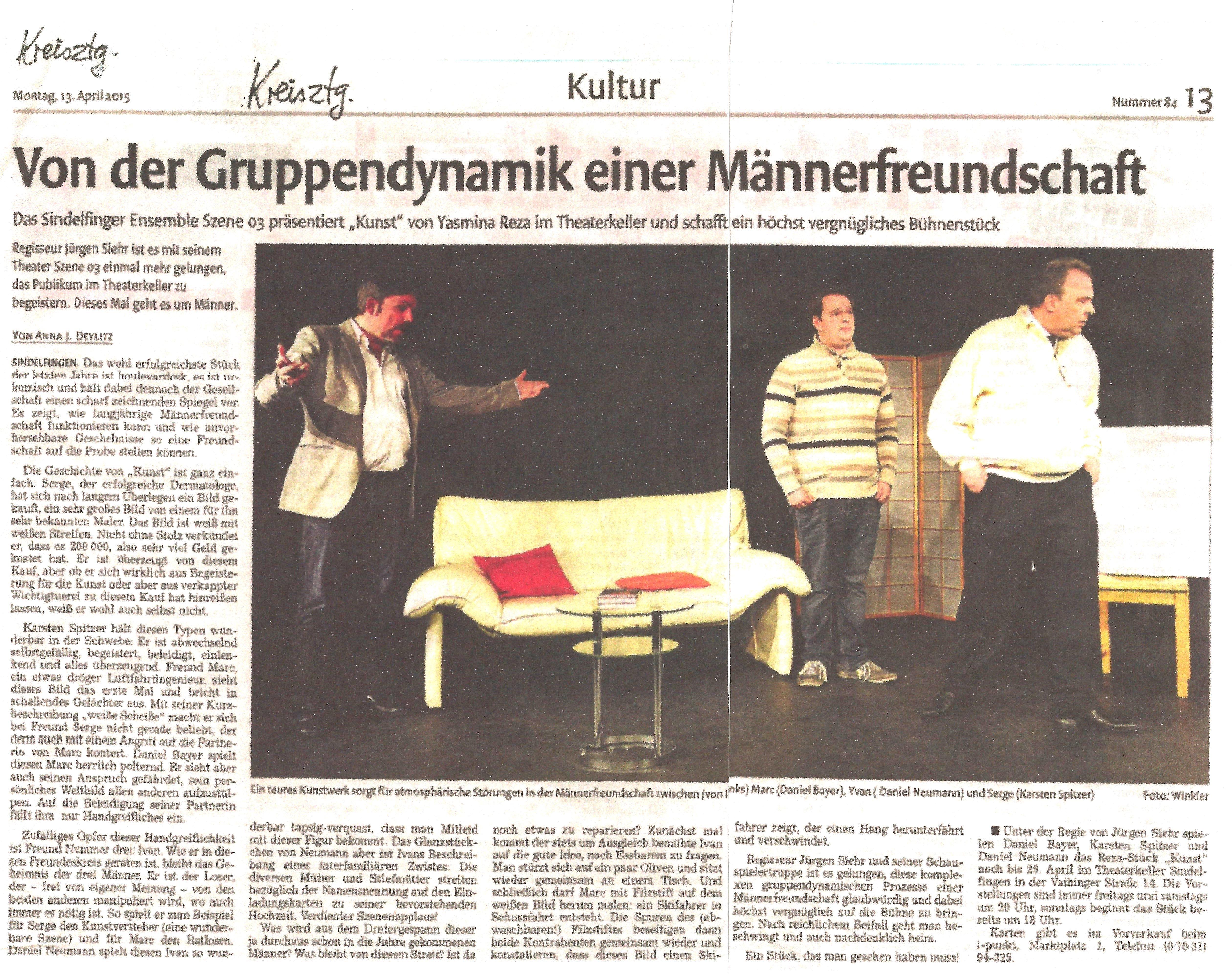 """Kritik aus der Kreiszeitung Böblinger Bote zu """"Kunst"""""""