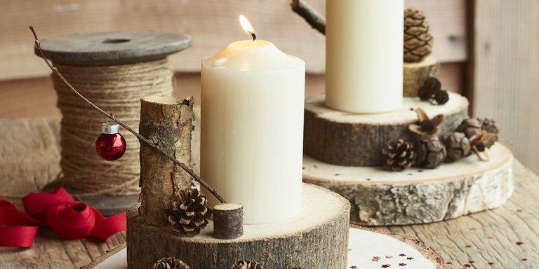 Transformer des rondins en bois en bougeoirs - Marie Claire