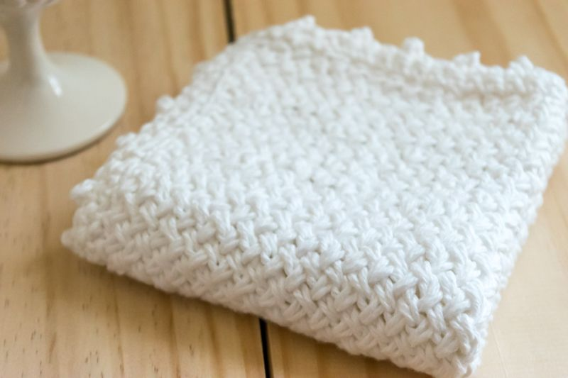 Instructions to knit a diagonal basket weave washcloth, witan added ...