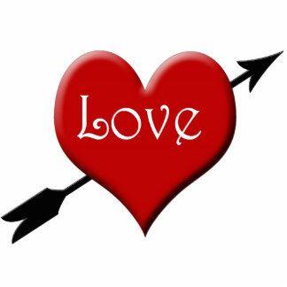 großes rotes Herz mit Pfeil Freistehende Fotoskulptur