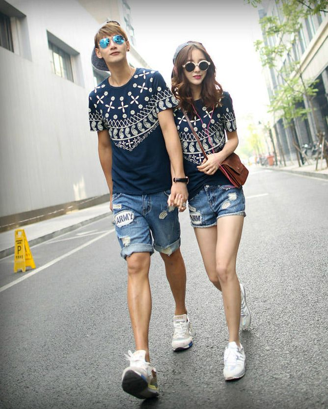 Mixed Print Short-Sleeved Couple T-Shirt #cute #matchingshirt #couple