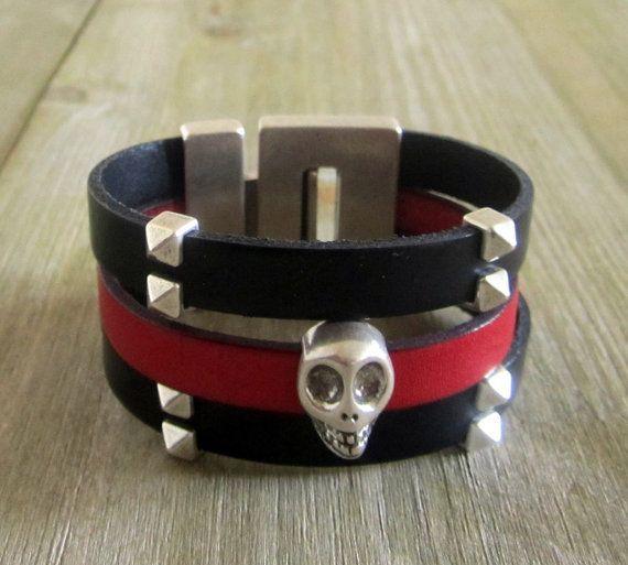 Bracelet leather black man from death's by NathLenfantCreations