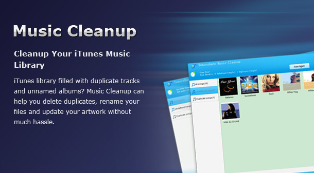 Music Cleanup is a professional tool to clean up and organize iTunes library. It can automatically find missing info like artist, genre and album name, get album artwork and track information for all music files and quickly scan and remove duplicated songs in iTunes library. It works for iTunes library and local music library and support the latest iTunes 11.