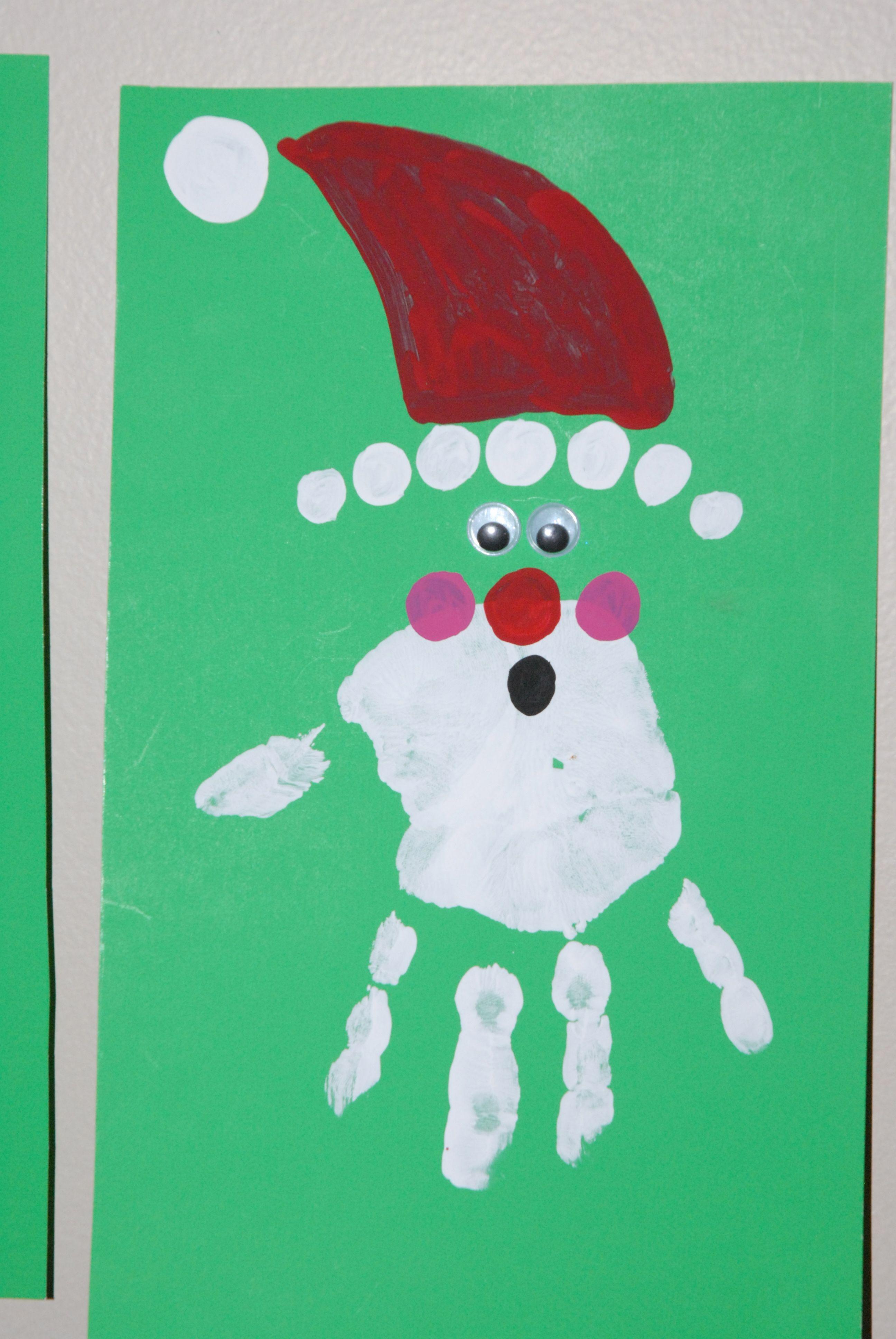 Hand print kids Christmas card Christmas card crafts
