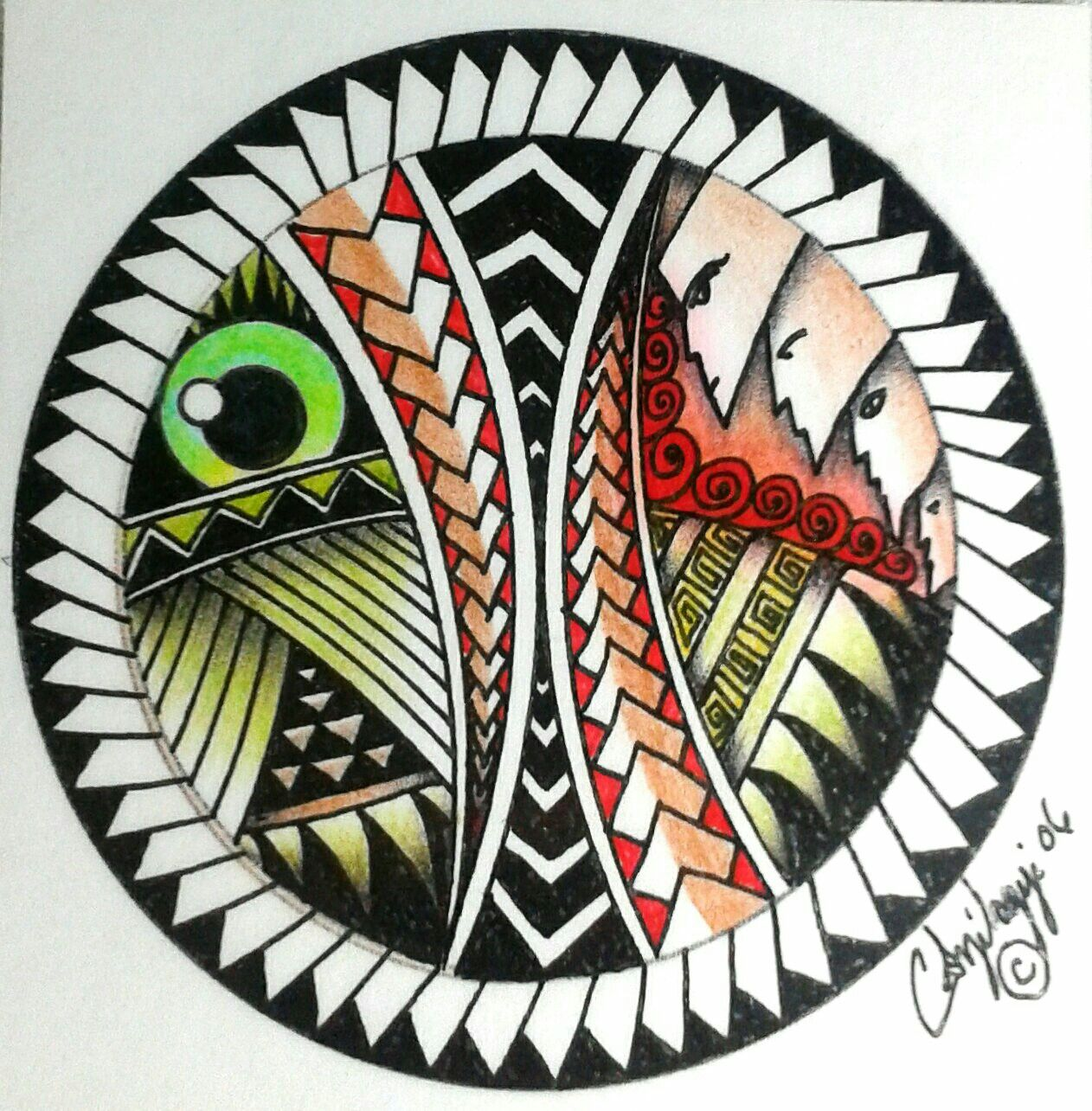 Tribal Tattoo With Color: Neo Tribal Tattoo Design, Color Pencil And Ink Circle