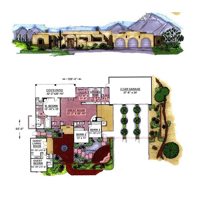 Southwest Style House Plan with 3 Bed 3 Bath 3 Car Garage