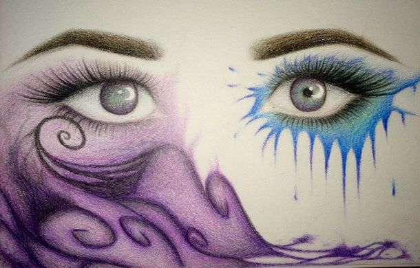 Abstract Art Beautiful Blue Colored Pencils Drawing Eye