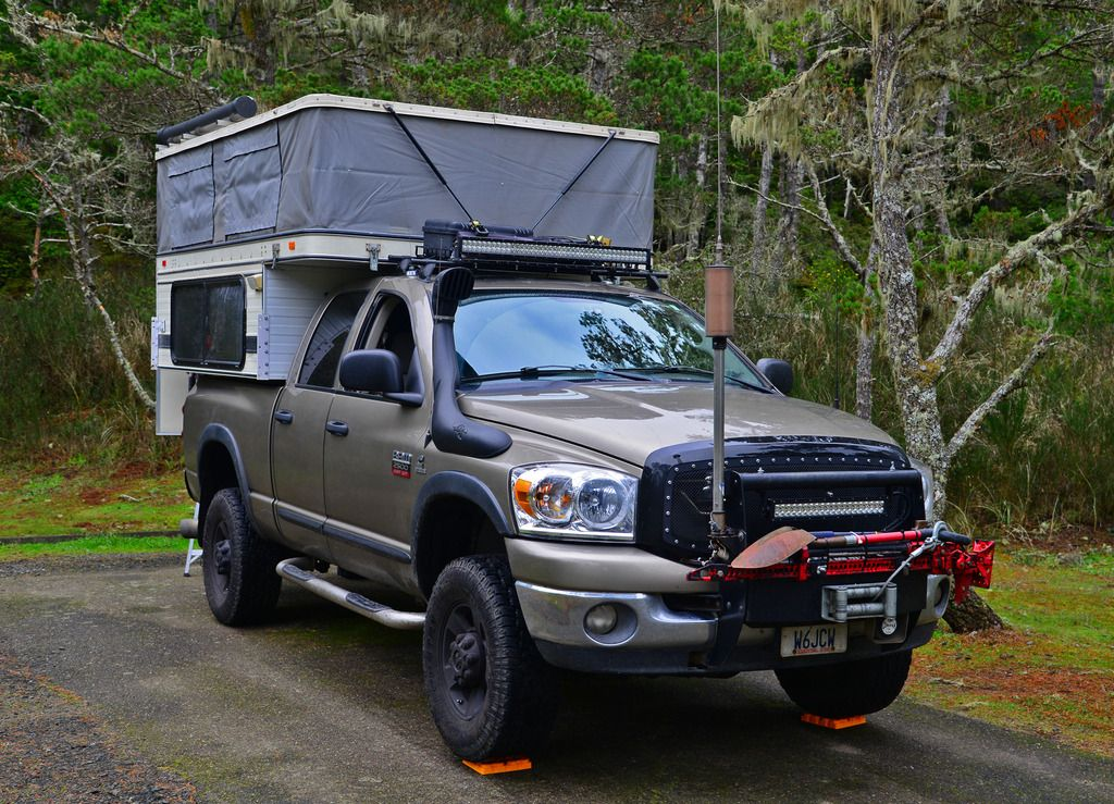 """2007, Dodge 2500 5.9 QC Short Bed 4X4, Auto, Warn 12000lb Winch, Kore Recon Suspension, Complete Set Power Wagon Skid Pans and Rails, Fender Liners, Power Wagon Flares, Carli Long Travel Air Bags, Expeditioneers Snorkel, Four Wheel/ATC hybrid Camper, Extreme Air """"Magnum"""" air system. *K6ON* Yaesu FT-857 All Band Ham Radio, Henry Radio SS-750 Mobile Amplifier."""