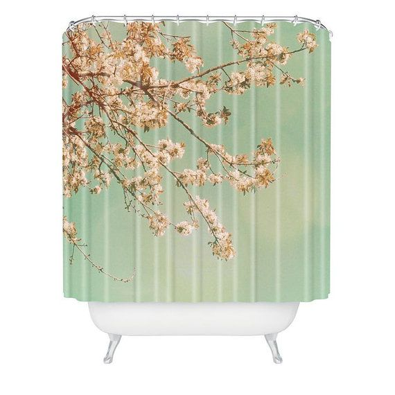 Shower Curtain Cherry Blossoms Pink Teal Floral Spring Shabby